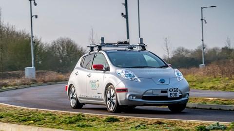 Nissan Leaf Human Drive autonomous car on the test track at Cranfield R&D base