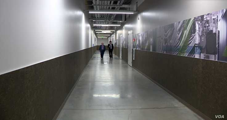 Inside corridor at Sabey Data Centers in Ashburn, Virginia.