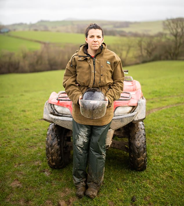 Ms Glyn had been working on her family's 350-acre farm when she crashed an ATV (all terrain vehicle, pictured). She said she was 'lucky to be alive'