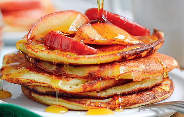 Try this delicious recipe for buttermilk pancakes with apple, cinnamon and golden syrup