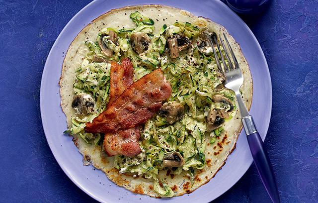 Give the classic crepe a savoury twist with courgette, mushroom and bacon