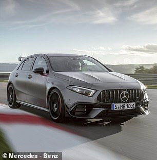 The Mercedes-AMG A45S is the most potent hot hatch, with an output of 415bhp
