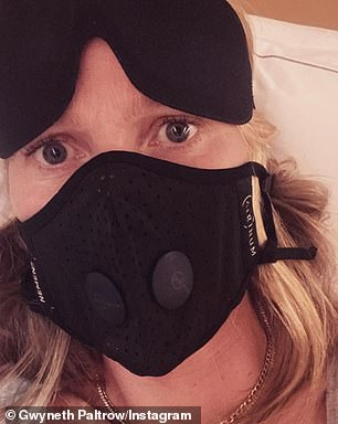 Several celebrities including Gwyneth Paltrow (pictured), Kate Hudson, and Bella Hadid have pictured themselves mid-flight wearing masks