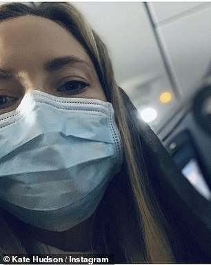 Paltrow wore a black mask that retails for about $34 while Hudson (pictured) wore a standard surgical face mask