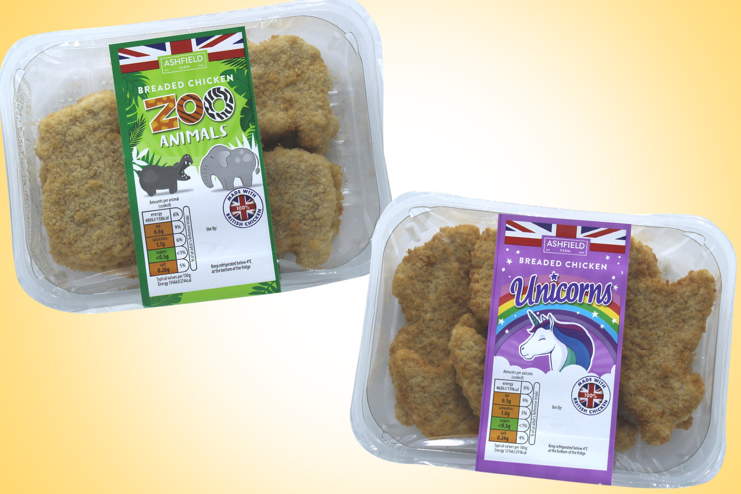 The animal-inspired chicken shapes are available in Aldi stores
