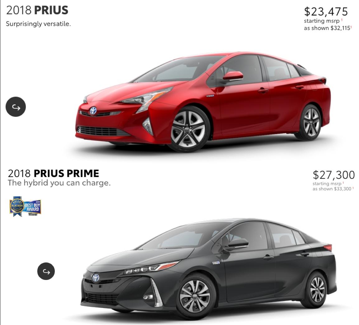 Prius & Prius Prime with pricing