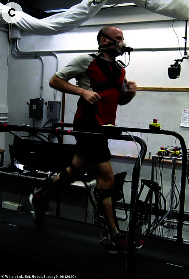 The exoskeleton was created by robotics experts at Stanford University and funded in part by sporting behemoth Nike.It is hoped that in future the technology will help individuals with disabilities exercise as well as allowing soldiers and emergency services to run faster