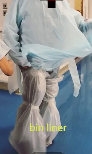 Medics across the nation have resorted to using cooking aprons and bin liners wrapped around their bodies instead. This anonymous nurse from London sent a photo to MailOnline of her PPE